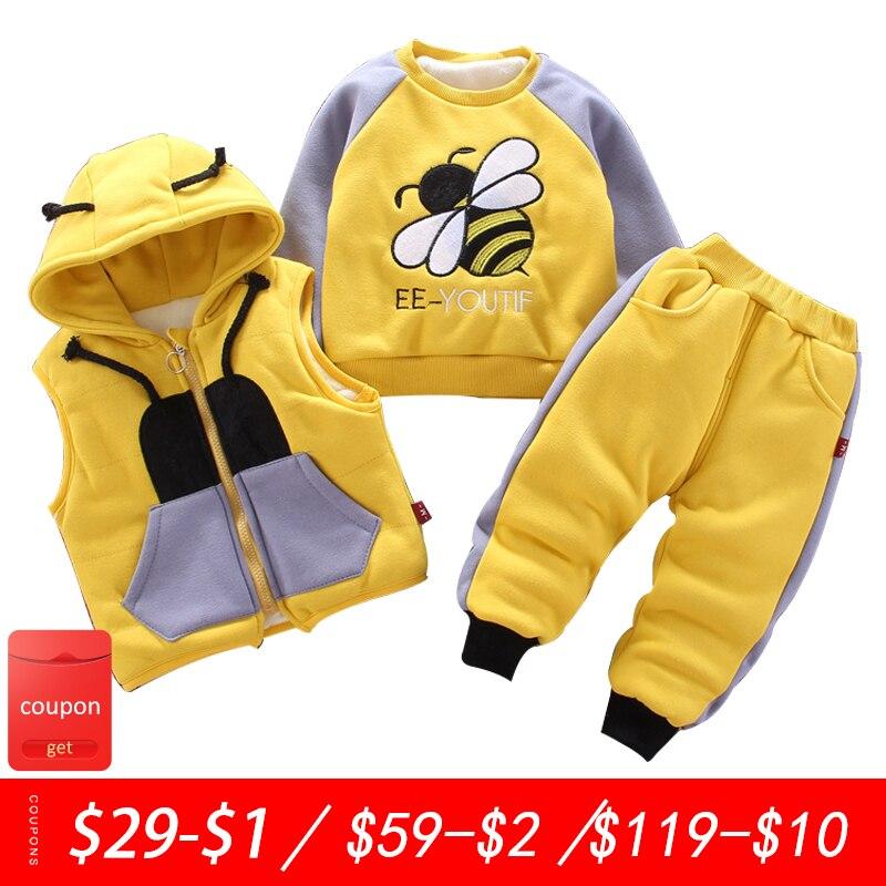 Одежда для маленьких мальчиков, зимний плотный и теплый свитер из трех предметов с мультяшным изображением медведя и лисы, жилет с капюшоном для маленьких девочек, детская одежда|Комплекты одежды| | АлиЭкспресс
