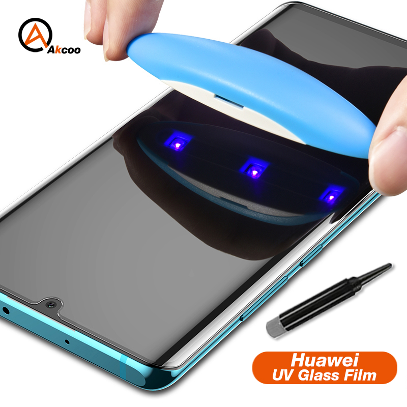 Akcoo Tempered Glass For Huawei P30 Pro Screen Protector UV Liquid Full Glue Film P30 Lite Glass Film With Oleophobic Coating