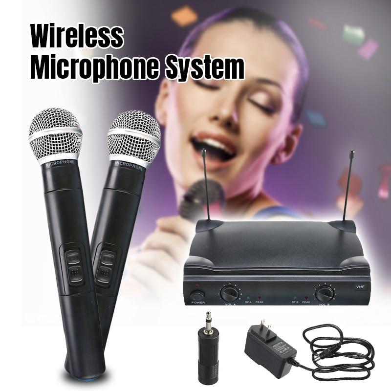 Système de micro portatif sans fil professionnel VHF à double Microphone avec récepteur pour Studio KTV de fête de Microphone Kareoke