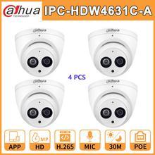 סיטונאי 4 pcs./הרבה Duahua DH HD 6MP רשת IP מצלמה IPC HDW4631C A שדרוג IPC HDW4431C A PoE מיני כיפת מיקרופון טלוויזיה במעגל סגור מצלמת