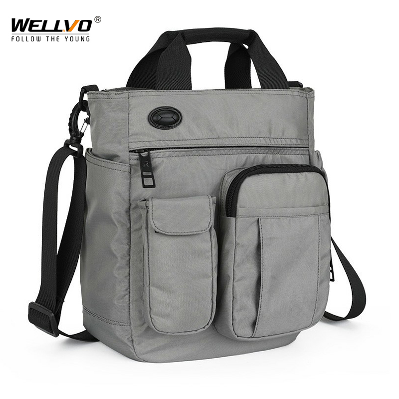 Men Multifunctional Shoulder Messenger Bag with Headphone Hole Waterproof Nylon Travel Handbag Large Capacity Storage Bags XA11C