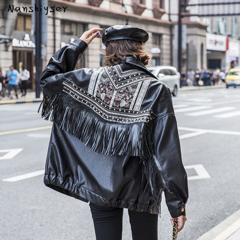 Boho Womens Heavy work Embroidery Rivet Tassel Washed Fake PU leather jacket Autumn Oversized Leather Motorcycle Coat Streetwear