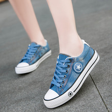 2020 New Spring Women Shoes Woman Sneakers Lace Up Denim Fas