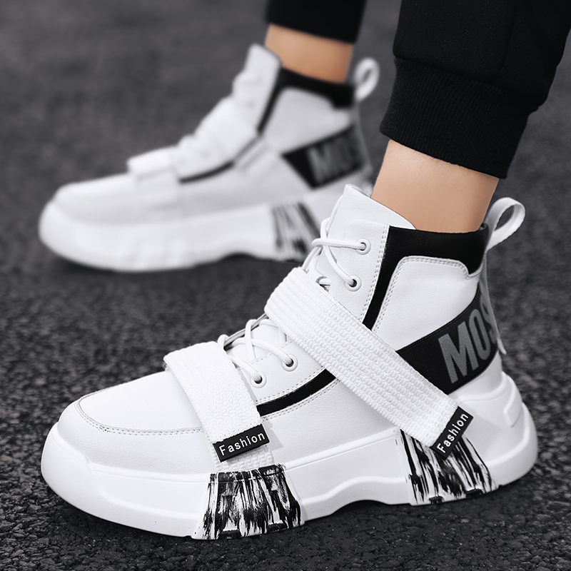 Autumn Leather Sneakers For Men Thick Soled Young Casual Men Footwear High Top Casual Adult Shoes Designer Sneakers