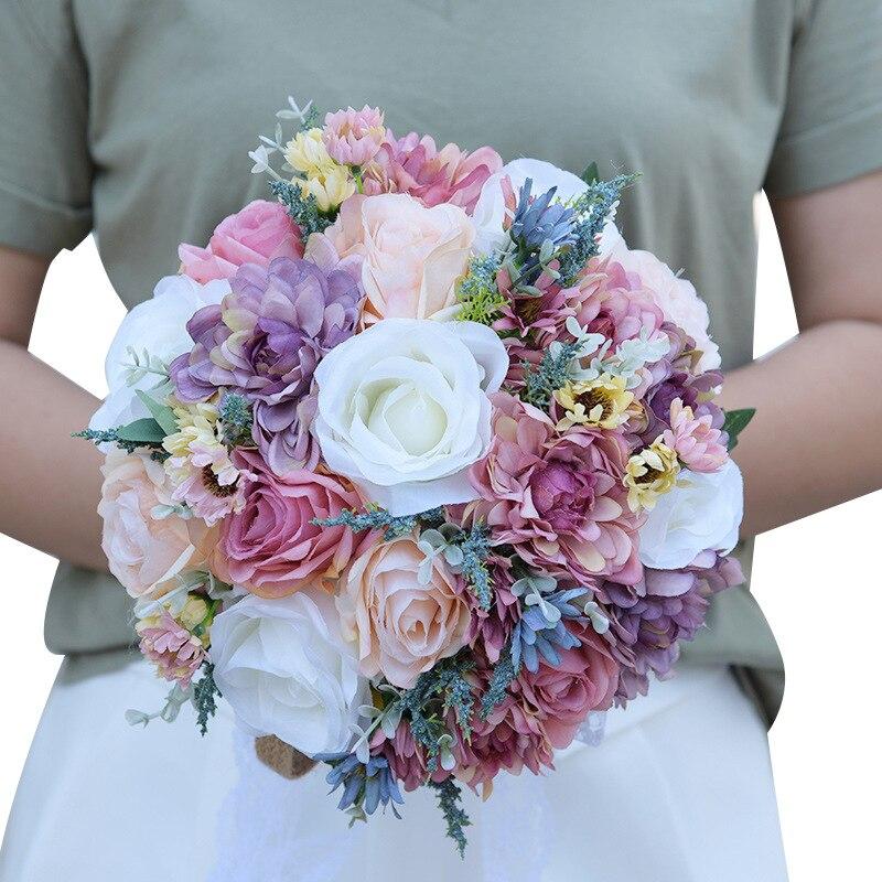 Rose flores novia Multi couleur artificielle mariage Bouquet mariée Roses fleur violet accessoires buque de noiva PH003