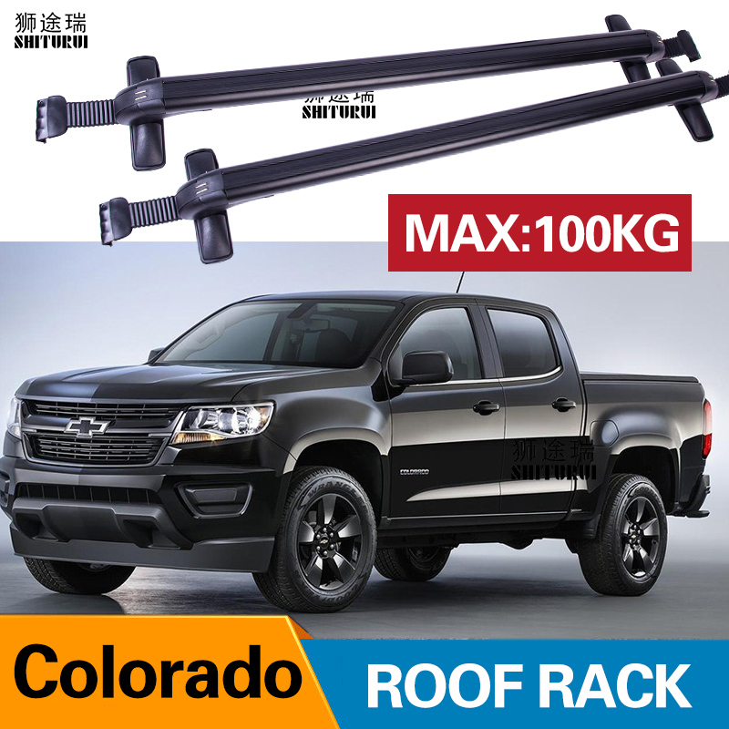 2Pcs Roof bars For CHEVROLET Colorado  4-dr Extended Cab  2015+   Crew Aluminum Alloy Side Bars Cross Rails Roof Rack Luggage title=