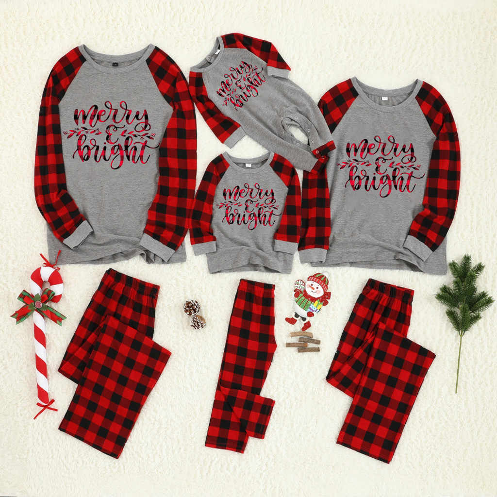 2019 Winter Family Christmas Pajamas Set Kids Baby Sleepwear Family Outfits Long Sleeve O-Neck Letter Print Tops+Plaid Pants Set