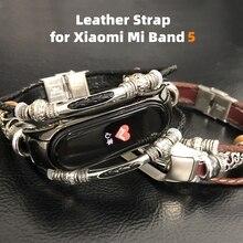 Bracelet de rechange en cuir véritable, rétro, pour Xiaomi Mi Band 5 4/5