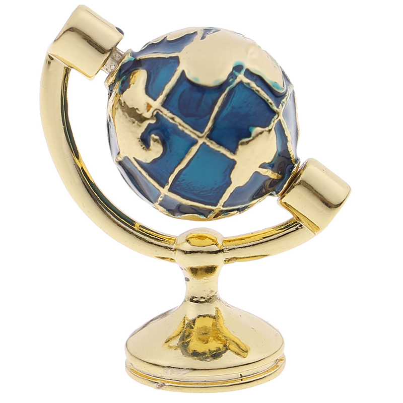 1:12 Scale Miniature Turnable Globe With Golden Stand Rolling Globe Dollhouse Living Room Furniture Toys Accessories