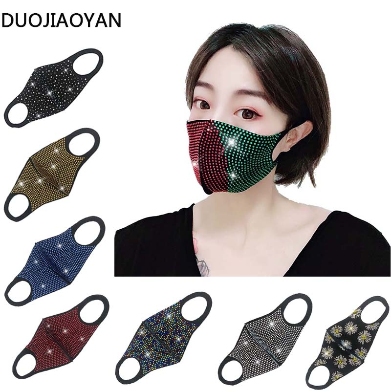 DUOJIAOYAN Fashion NEW Acrylic Diamond Decoration Mask Jewlery Woman Veil Shiny Rhinestone Night Club Mask Accessories