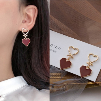 South Korea Fashion Geometric Heart-Shaped Earrings Bohemia Minimalist Drop Pendant Jewelry Gift Earrings Women Party image
