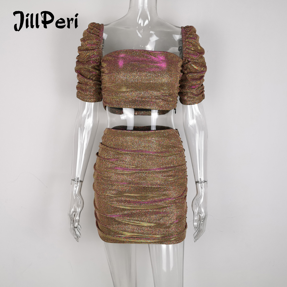 JillPeri Women Slash Neck Puff Sleeve Sexy Crop Top And Skirt 2 Piece Set Sparkle Burning Girl Club Wear Outfit Short Party Sets