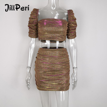JillPeri Women Slash Neck Puff Sleeve Sexy Crop Top and Skirt 2 Piece S