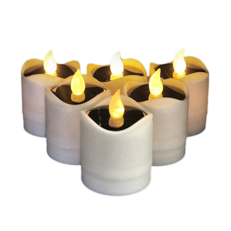 6Pcs Waterproof Solar Power Flickering Led Flameless Candle Tealights Smoke-Free For Christmas Party Decoration Outdoor