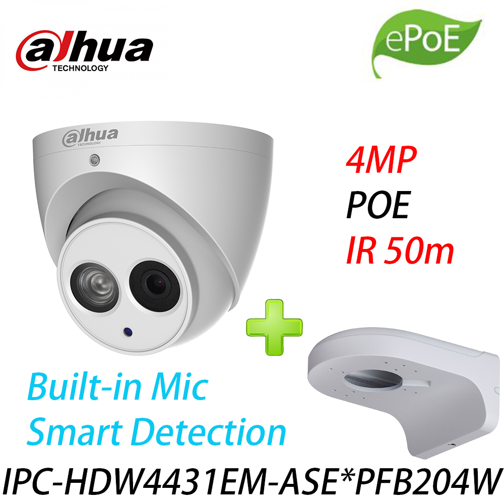 <font><b>Dahua</b></font> IPC-HDW4431EM-ASE IR50m eye network <font><b>camera</b></font> built-in microphone upgrade IPC-HDW4431EM-AS with logo With Wall Mount PFB204W image
