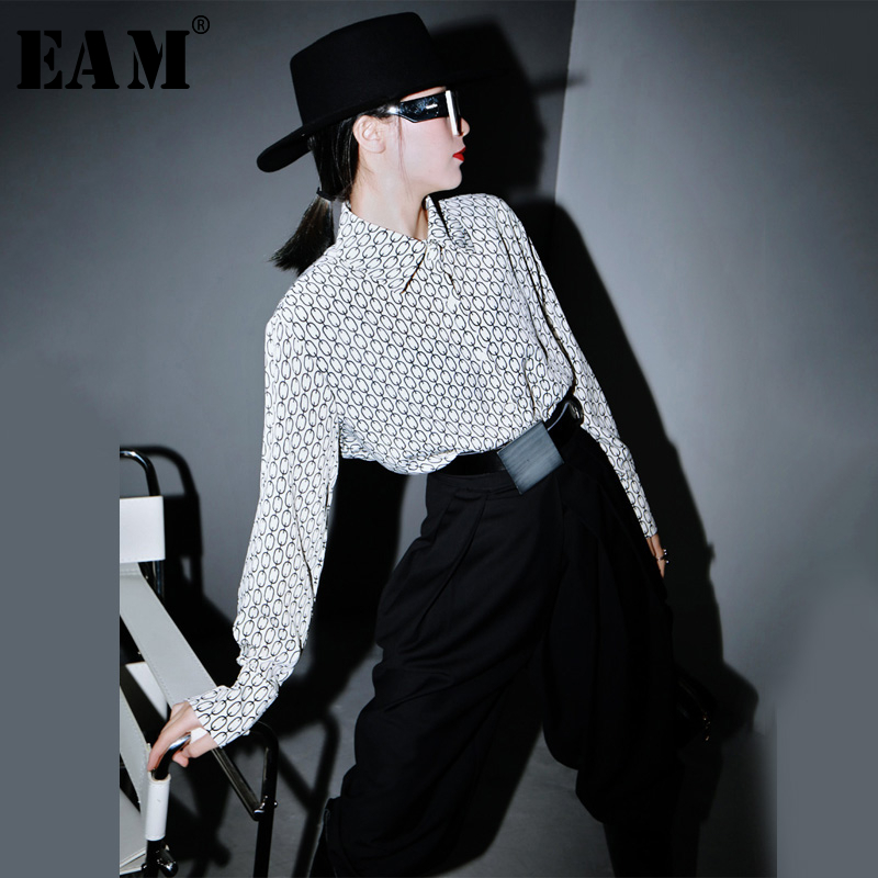 [EAM] Women Black Pattern Printed Big Size Blouse New Lapel Long Sleeve Loose Fit Shirt Fashion Tide Spring Autumn 2020 1R809