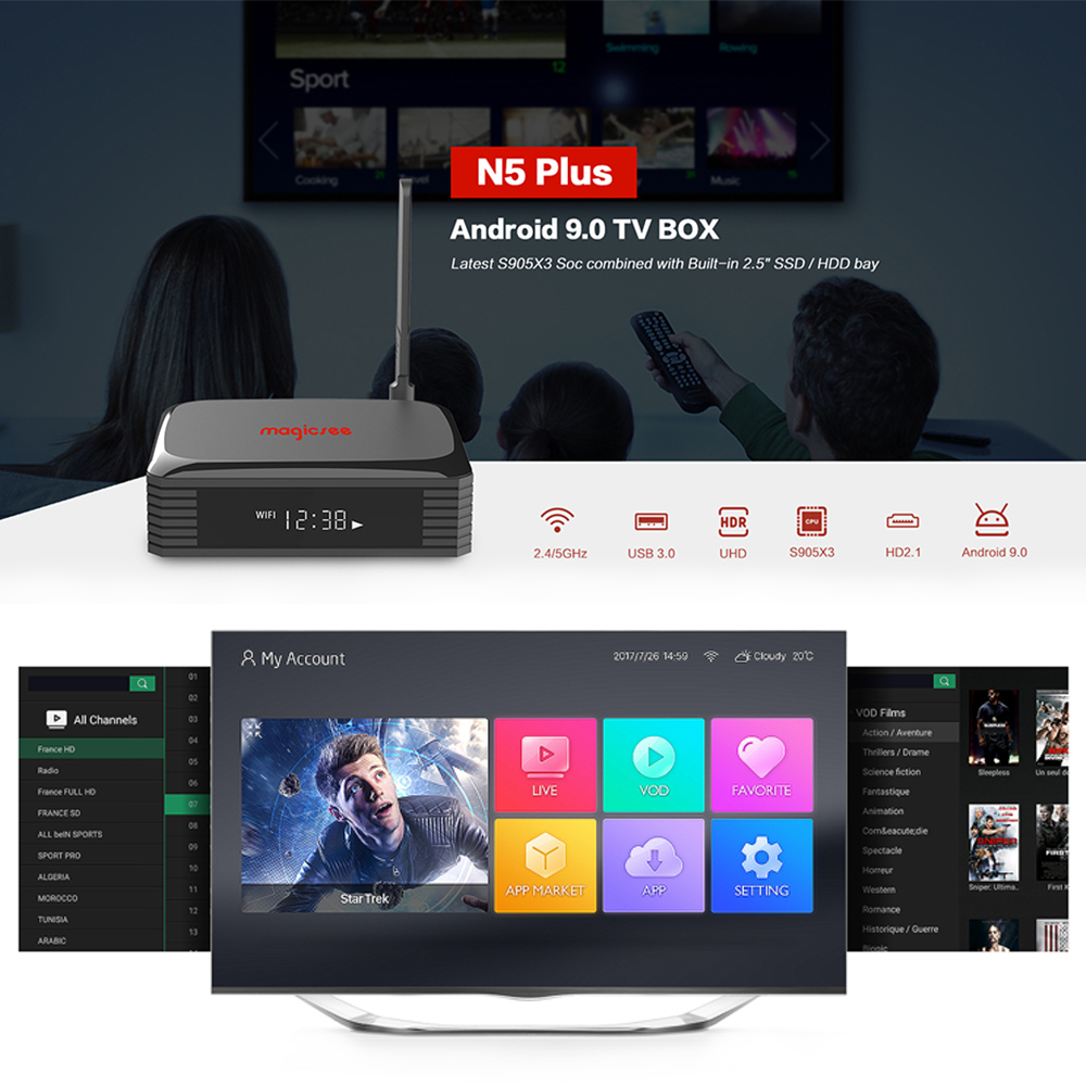 Magicsee N5 Plus Android 9.0 TV BOX S905X3 4G 64G 2.4 5G Dual WiFi Ethernet  BT 5.0 Smart Boxes 8K HDR Set Top Box iptv player