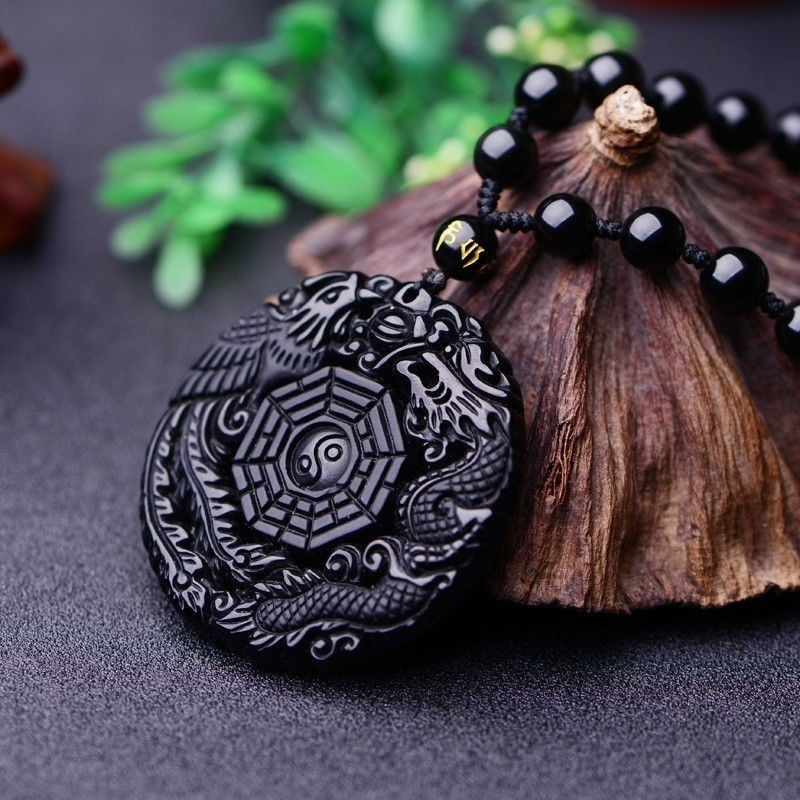 Natural Black Obsidian Dragon Phoenix Pendant Beads Necklace Fashion Charm Jewellery Hand-Carved Amulet Gifts For Her Women Men