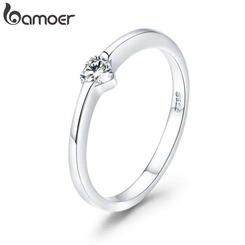 Bamoer 925 Sterling Silver Luminous Finger Ring Simple Heart Wedding Rings For Women Wedding Engagement Jewelry SCR450