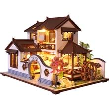 CUTEBEE ילדים צעצועי בית בובות ריהוט להרכיב עץ מיניאטורי בית בובות Diy בית בובות פאזל צעצועים חינוכיים לילדים