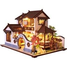 CUTEBEE dzieci zabawki lalki meble domowe montaż drewniany miniaturowy domek dla lalek Diy domek dla lalek Puzzle edukacyjne zabawki dla dzieci