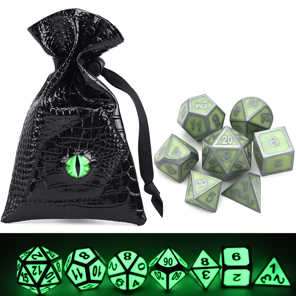 Glowing Metal Dice And Green Dragon Eye PU Leather Dice Bag For Tabletop Games