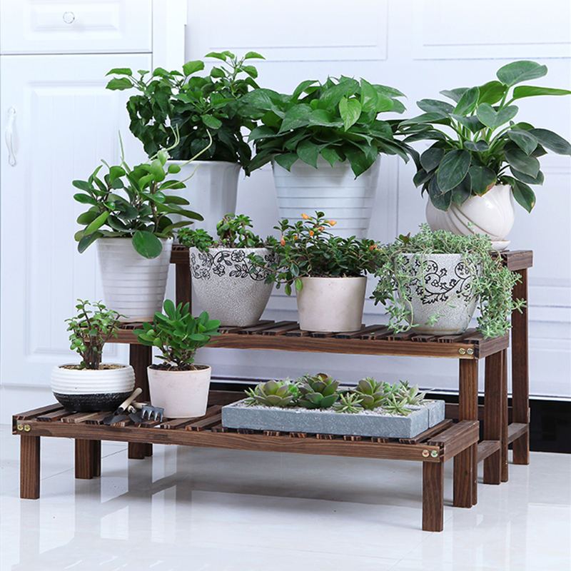 Solid Wood Balcony Flower Airs Multi-storey Indoor A Living Room Flowerpot Frame Multi-storey Landing Type Green Rose Rack