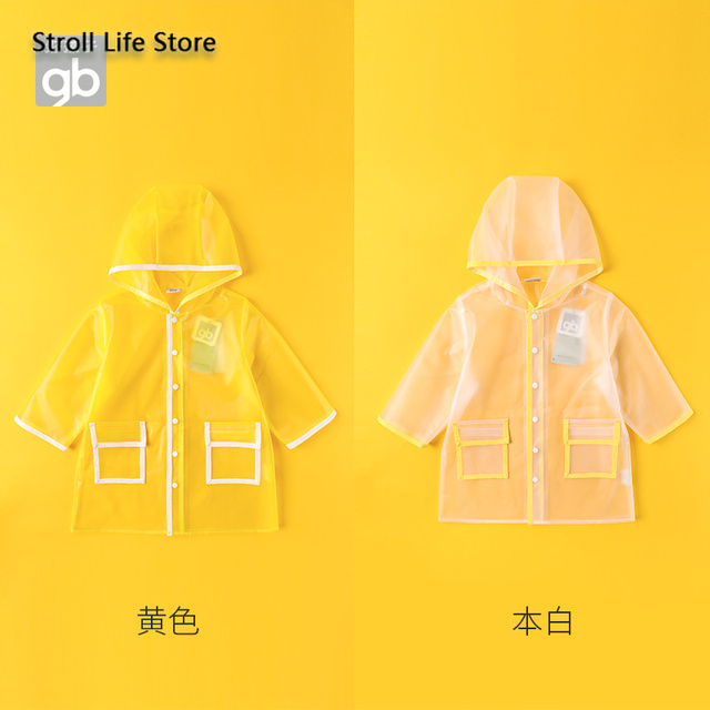 Kids Clear Raincoat Yellow Long Children Rain Coat Transparent Waterproof Poncho Rain Jacket Kids Capa De Chuva Birthday Gift 1