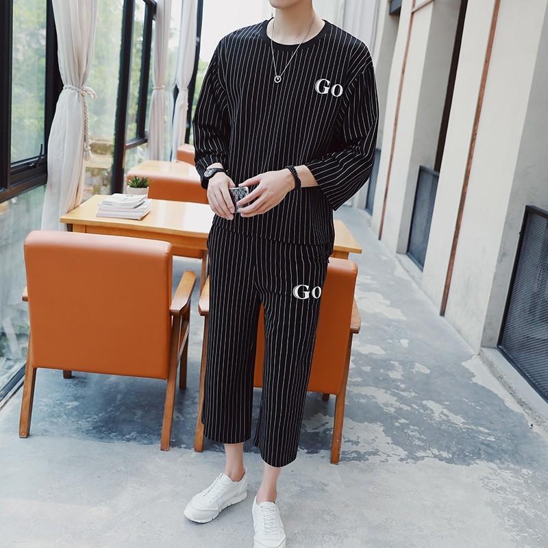Drawstring Tracksuit Men 2 Piece Conjunto Masculino Casual Stripe Pattern Printed Loose Summer Sweatshirt Men Two Piece Set 2020