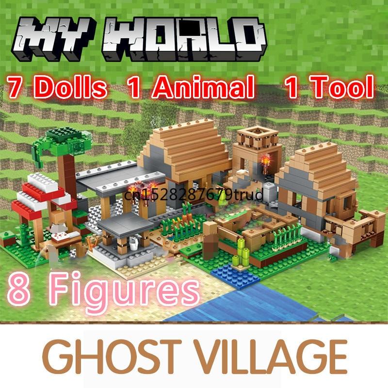 Bloques de construcción de pueblo fantasma de mi mundo para niños, 838 Uds., bloques de construcción, módulo de figuras, juguetes para niños, regalos de navidad