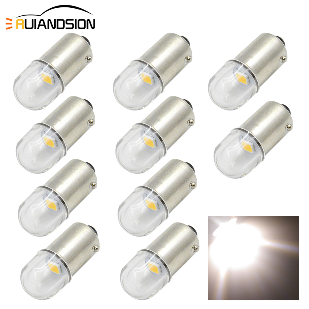 10PCS BAX9S H6W Auto BA9S T4W BAY9S H21W Wedge LED Car Light 1-SMD 2835 Warm White DC 6V Ceiling Reading Side Bike Bulbs 0.48W image