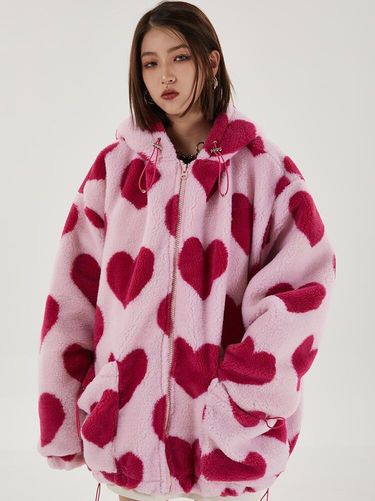 Jacket Outwear Sherpa-Coat Thick Parka Harajuku Hip-Hop Furry Winter Women Print