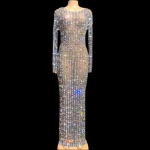 Nightclub Outfit Mesh-Dress Stage-Costume Pearls Rhinestones Birthday Women Party Evening-Celebrate