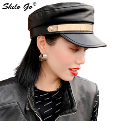 Genuine Leather Visor Highstreet Sheepskin Visor Military Hat Autumn Winter Vintage Solid Beret Cap Women England Style Flat Cap