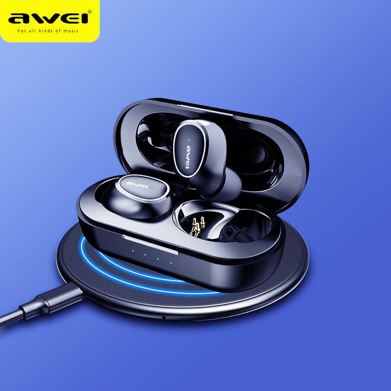 AWEI T6C Mini TWS w uchu słuchawki douszne bezprzewodowe z bluetooth z mikrofonem Sport z redukcją szumów słuchawki do gier wodoodporny Auriculares