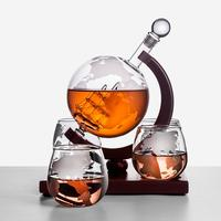 Whiskey Decanter Ship Style Whiskey Dispenser For Liquor Bourbon Vodka Globe Decanter With Finished Wood Stand