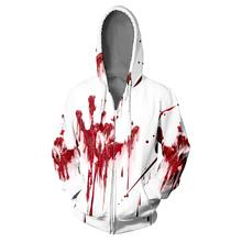 Wamni Darah Splash Zipper Hoodie Hip Hop Cosplay Horor Halloween 3D Zipper Sweatshirt Keren College Aksesoris Cosplay Aksesoris Cosplay(China)