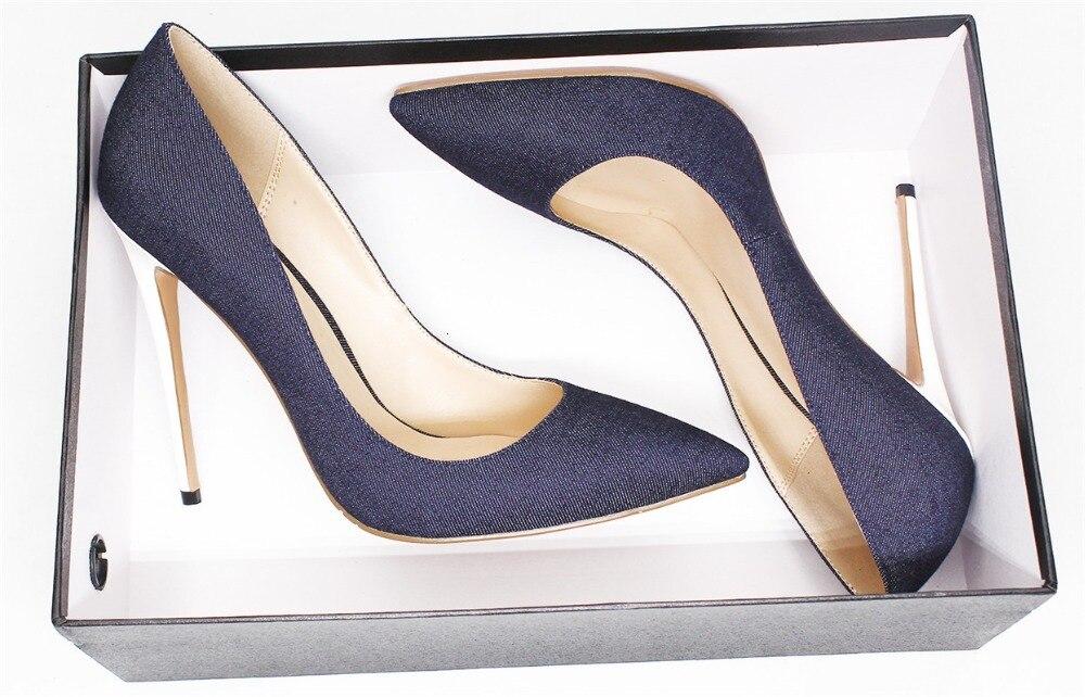 Demin cuir sandale femmes Super haut talon mince talons sandales Sexy blanc talons chaussures grande taille 35 45 bout pointu chaussures de piste - 3