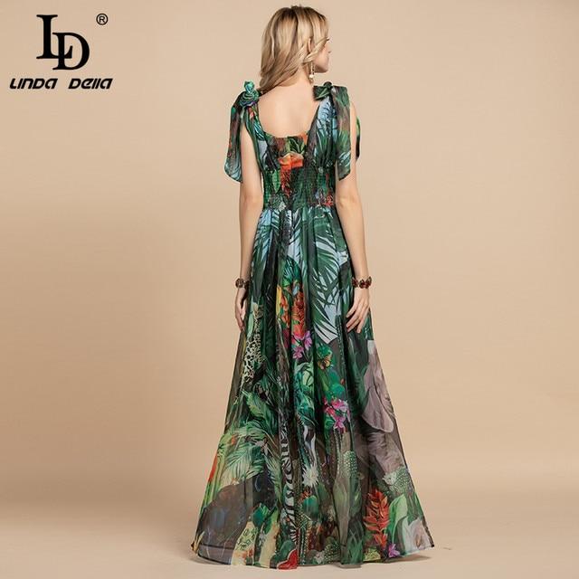 LD LINDA DELLA Summer Fashion Runway Maxi Dress Women's V-Neck elastic Vintage Flowers Print Holiday Boho Long Dress Plus size 6