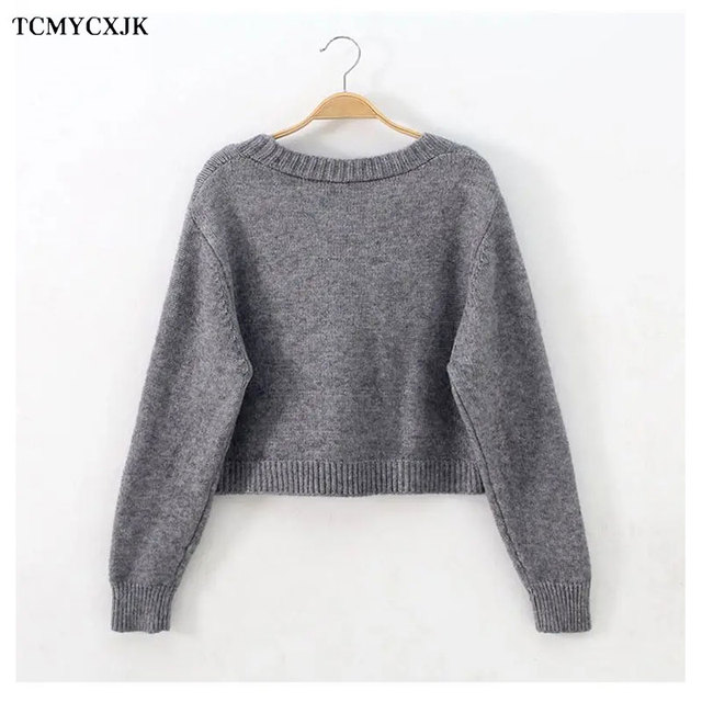 Short High Waist Slim Cable V-neck Sweater Women Spring And Autumn 2021 New Single-breasted Knitted Cardigan Twist Small Jackets 2