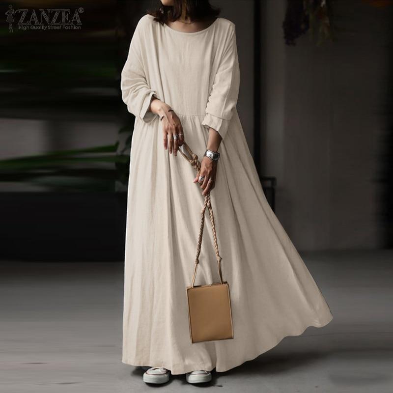 2021 осенний винтажный Однотонный сарафан с длинным рукавом женское Элегантное Длинное Платье ZANZEA Kaftan Femme Robe Vestidos мешковатые размера плюс 7