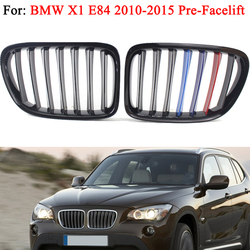 Dla BMW E84 X1 SUV 2010 2011 2012 2013 2014 2015 akcesoria samochodowe przedni Grill zderzaka czarny błyszczący m-kolor nerka Sport kaptur Grill