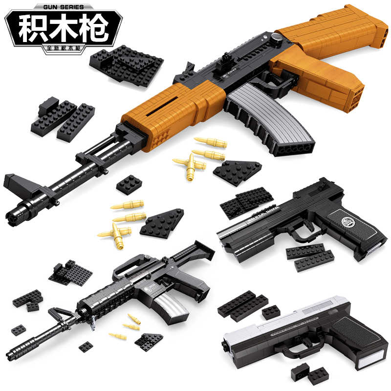 Ausini SWAT GUN Replica compatible legoed Weapons  Model kid Toy Bricks model Building kits Blocks Sets Weapon military AK47 98k