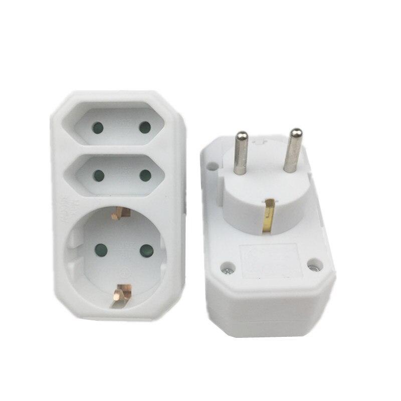 Plugue de conversão europeu 1 a 2 1to 3 vias adaptador de soquete padrão da ue adaptador de energia 16a viagem plug soquete estendido
