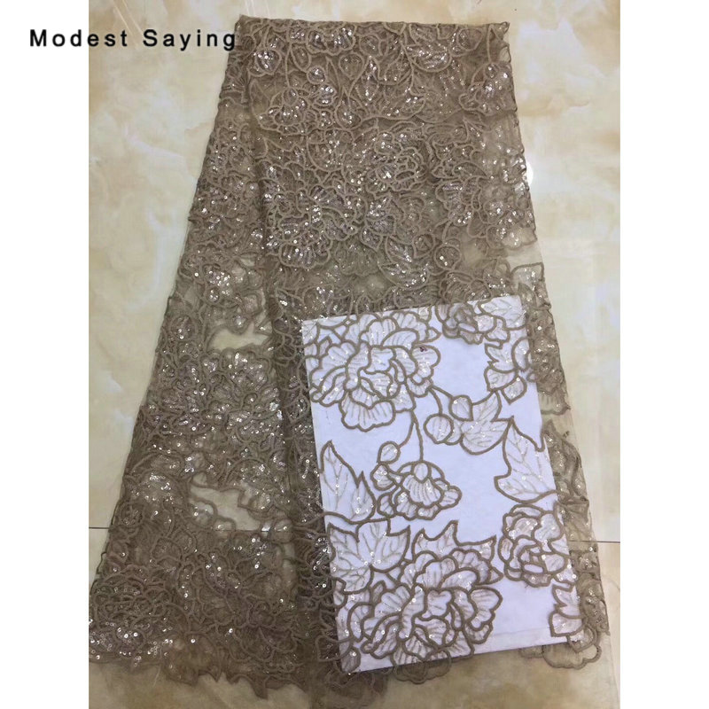 2 Yards Khaki Sequined Flowers Lace Fabrics For Evening Dress 2019 New Fashion Embroidered Mesh Party Prom Net Lace Material