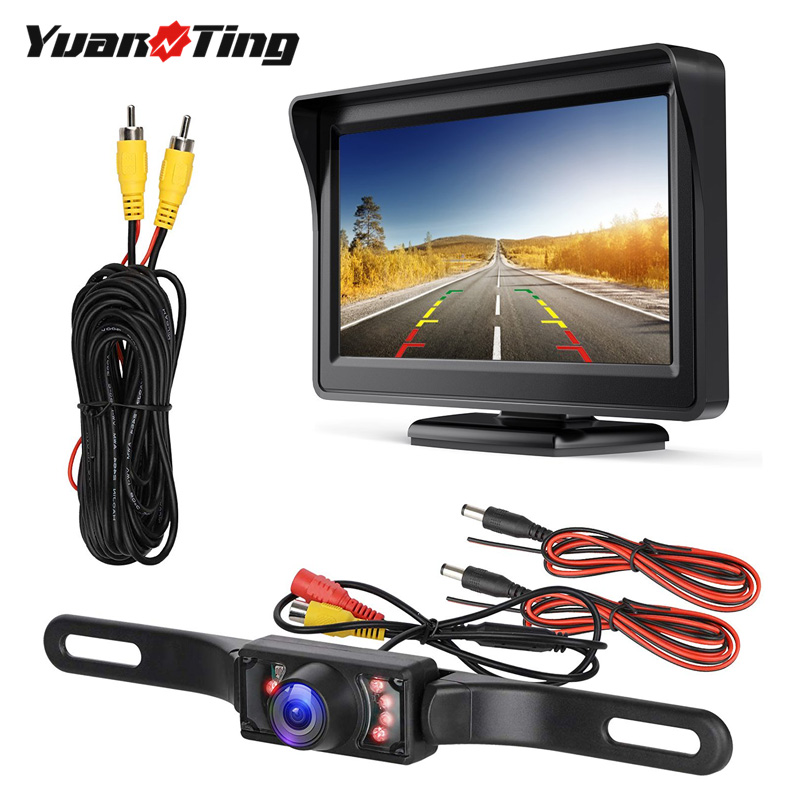 YuanTing Car Universal Wired Waterproof License Plate Night Vision Backup Reverse Camera + 4.3 Inch TFT LCD Rear View Monitor