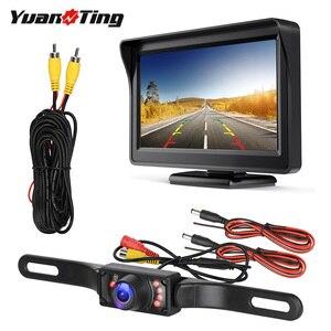 Image 1 - YuanTing سيارة العالمي السلكية للماء لوحة ترخيص للرؤية الليلية احتياطية عكس كاميرا + 4.3 بوصة TFT LCD شاشة الرؤية الخلفية