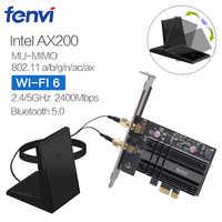 Adaptateur de carte réseau Wi-Fi sans fil double bande 2400Mbps avec Wi-Fi 6 Intel AX200 NGW NGFF avec 802.11 ca/ax BT 5.0 pour ordinateur de bureau