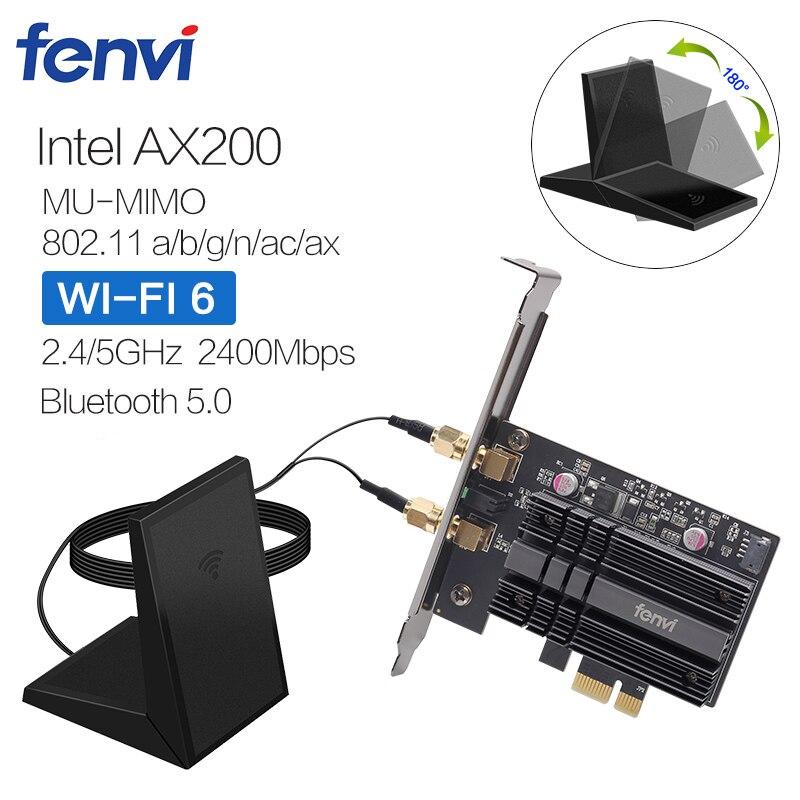 Double bande 2400Mbps sans fil Wi-Fi carte réseau adaptateur avec Wi-Fi 6 Intel AX200 NGW NGFF avec 802.11 ca/ax BT 5.0 pour ordinateur de bureau