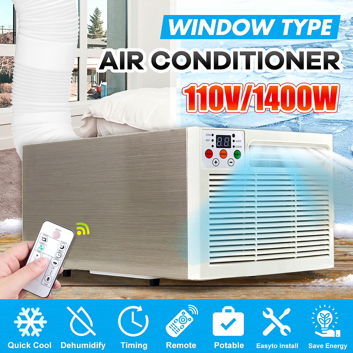 1400W Mini Desktop Air Conditioner 110V/AC 24-hour timer Cold/Heat dual use remote control LED control panel Pet Air Conditioner